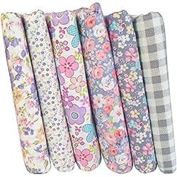 ChicSoleil - Juego de 7 piezas de tela de algodón impreso de 25 x 25 cm – edredón de costura con estampado floral, tela de cuartos para adornos de manualidades, manualidades, manualidades, patchwork, álbumes de recortes