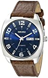 Seiko Stainless Steel Automatic Self-Wind Watch for Men(SNKN37,Brown Leather Band,Dial-Blue)
