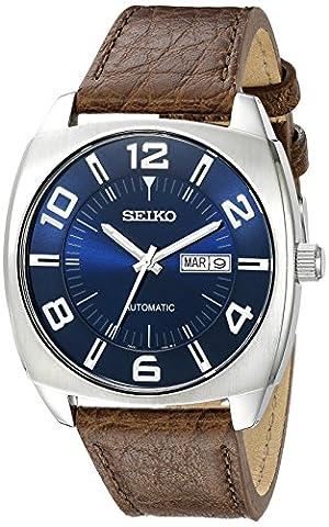 Seiko Snkn37Montre automatique en acier inoxydable Hommes bracelet en cuir Marron