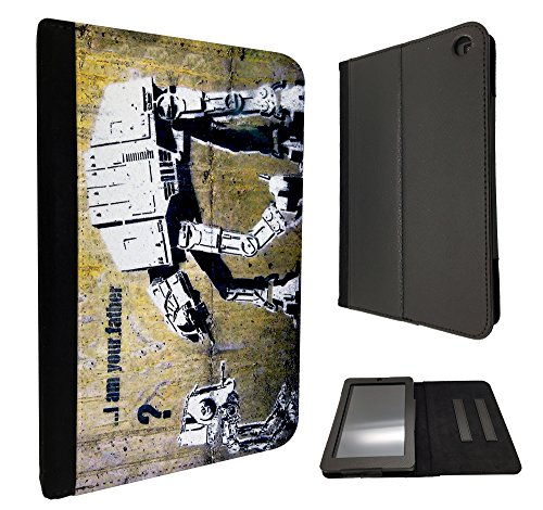 "Image of Banksy Grafitti Art Star War Robot Design Amazon Kindle Fire HD 6"" 2014 Fashion Trend Design TPU Leather full Case Flip Book Style Cover"