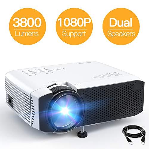 Beamer APEMAN Mini Beamer 3800 Lumen 1080P Full HD Unterstützt Aktualisierte Tragbar Projektor LED 45000 Stunden Heimkino Sport HDMI/TF/USB...