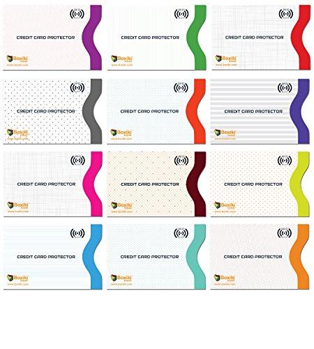 RFID-blockierender Ärmel, Set mit Farbe Codierung | Identität Diebstahl Prävention RFID-blockierender Briefumschläge von boxiki Reisen (weiß) Set of 12 Credit Card Sleeves (White)