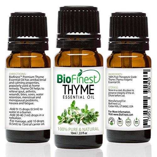 Teebaum Öl Mundwasser (biofinest Thymian Öl–100% Pure Thymian Öl–Premium Bio–Therapeutische Grade–Aromatherapie–Boost Memory–Hilft Gleichgewicht Hormon–GRATIS E-Book (10ml))