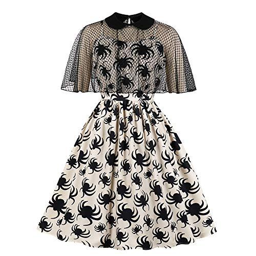 Dicomi Frauen Hepburn Spider Print Trim Swagger Rock runden Kragen Retro Kleid A Beige S (Baby Kuh Kostüm Selbstgemacht)