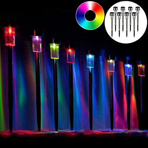 8x LED Solarlampe aus Edelstahl ✔wetterfest ✔automatisches Einschalten bei Dämmerung ✔ automatisches Aufladen bei Sonnenlicht ✔ Farbwechsel multicolor ✔ Solarleuchte Gartenleuchte Solarlampe Wegeleuchte Gartenbeleuchtung