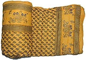 Shopnetix Double Bed Size Jaipuri AC Quilt Razai Blanket with Gold Prints (Yellow)