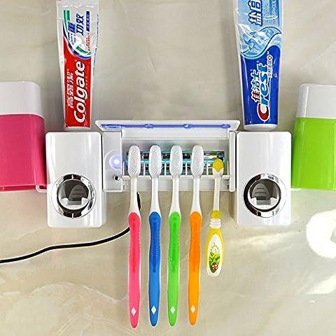 Cepillo de dientes esterilizador UV de desinfección automática pasta de dientes cepillo de dientes titular dispensador de Juego de Vasos Inicio