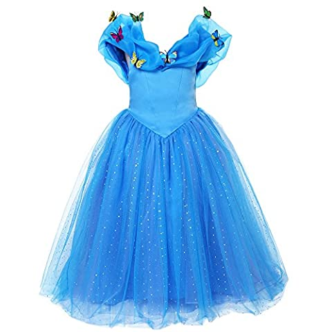 Pettigirl Filles Princesse Robe Bleue Papillons Cendrillon Costume 6ans
