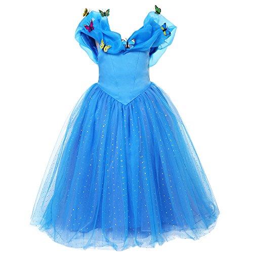 Mooler Mädchen Prinzessin Cinderella Schmetterlinge Maxi Kleid , 7Years