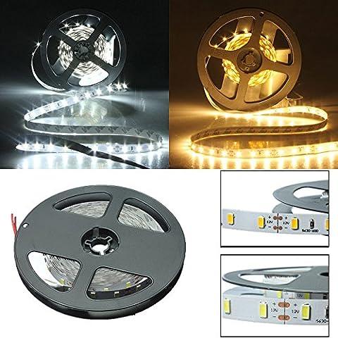 5 M blanco / caliente 300 LED 5630 SMD no impermeables Strip luz 12V.