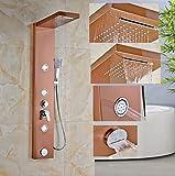 GOWE chorros de oro rosa columna de ducha bañera grifo de la mano ducha de lluvia cascada