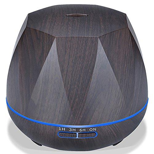LJY Befeuchter/Ultraschall Holzmaserung Luftbefeuchter/Portable Aroma Diffusor/7-Farben-LED-Nachtlicht/Mit Automatischer Abschaltung/Yoga/Büro/Spa/Schlafzimmer,A