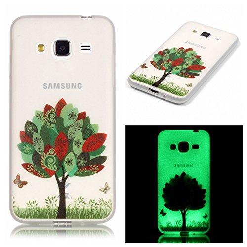 Tebeyy Custodia in gomma TPU per Samsung Galaxy Note 5, trasparente, ultra sottile, morbida, si illumina al buio, motivo: fiori, animali, cartoni animati, con pellicola protettiva per schermo e stilo Butterfly Tree