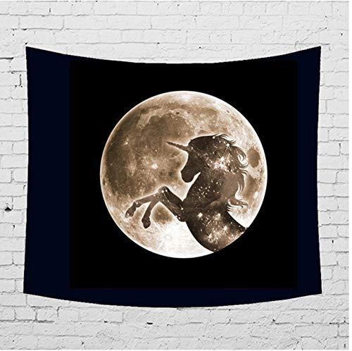 ignbaa Night Sky Moon Tapisserie Wandbehang Meerjungfrau Wolf Einhorn Shadow Hippie Home Decor Mandala Wandbehang Teppich Stoff-150CM×200CM (Spielen Night Sky Karten)