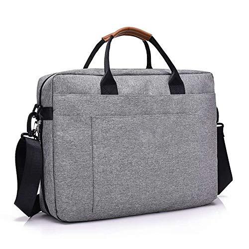 QWER2P Große Business-Aktentasche für Männer, Frauen, Laptop-Tasche Umhängetasche, wasserdichte erweiterbare Computer-Umhängetasche, für Reisen und Business, grau -