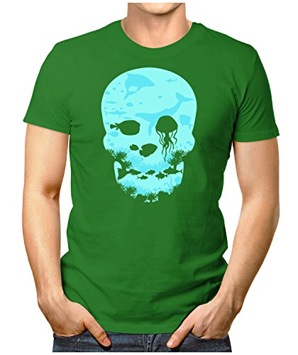 PRILANO Herren Fun T-Shirt - DEAD-SEA-SKULL - Small bis 5XL - NEU Grün