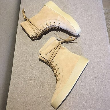 Stivali delle donne Inverno Mary Jane PU Cuoio casuale Wedge Heel Feather Camel