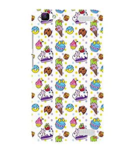 Fiobs ice cream donuts cakes biscuits dot pattern creative Designer Back Case Cover for Vivo V1 Max