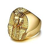 XDBMK 27MM Acero Inoxidable faraón Egipcio Casting Anillos de Oro para Hombre