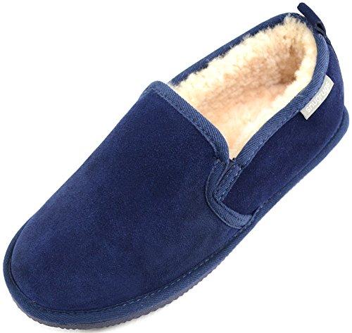 ey Sheepskin Slipper With Rubber Sole Flache Hausschuhe, Blau (Marineblau), 48.5 EU (Schaffell-hausschuhe-clearance)