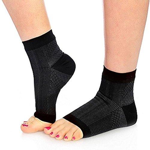 Mode Confortable Relief doux Unisexe Anti-Fatigue Compression Chaussettes courtes (S/M, Noir)