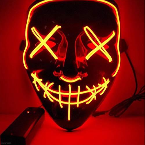 Llydian maschera di halloween led illuminata maschera fluorescente v parola horror bagliore maschera stroboscopica