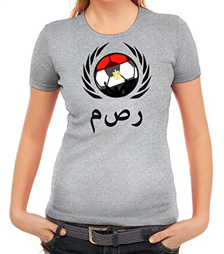 ShirtStreet Egypt Wappen Soccer Fussball WM Fanfest Gruppen Fan Wappen Damen T-Shirt Fußball Ägypten Graumeliert