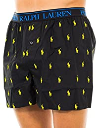 Polo Ralph Lauren Homme All Over Logo Print Woven Boxers, Noir