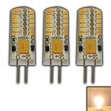 3x G4 LED 3 Watt Warmweiß Dimmbar 12V AC/DC (3 Stück) Wechselspannung mit 48 x 3014 SMDs (Epistar) ~ 15W 330° Stiftsockel…