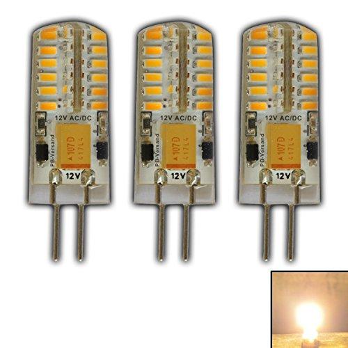 3x G4 LED 3 Watt Warmweiß Dimmbar 12V AC/DC (3 Stück) Wechselspannung mit 48 x 3014 SMDs (Epistar) ~ 15W 330° Stiftsockel… (Grad Spot 20w 12)