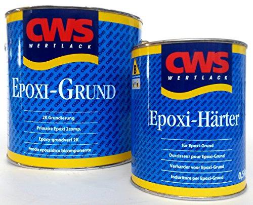 CWS Epoxi Grund weiss, 2,5L - Stammlack zur matten Zweikomponenten-Universalgrundierung für Untergründe wie z.B. Hart-PVC, Acryl, melaminharzbeschichtete Platten, Resopal, Glasal, Aluminium, Zink, Eisen, Stahl, keramische Fliesen, NE-Metalle usw. -