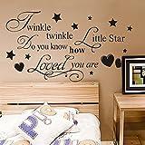 Zooarts Twinkle Little Star Mural Wall Quote Art Words Decals Sticker Room Decor Vinyl