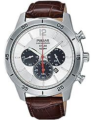 Pulsar Herren-Armbanduhr Solar Chronograph Quarz Leder PX5049X1