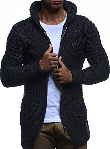 LEIF NELSON Herren Jacke Hoodie Strickjacke Pullover Kapuzenpullover Jacke Sweatjacke Zipper Sweatshirt Strick LN20731; Gr_¤e XXL, Schwarz