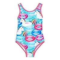 Bluezoo Kids Girls' Multi-Coloured Unicorn Print Swimsuit 12-18 Months