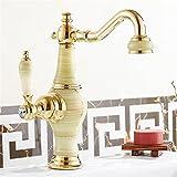 NewBorn Faucet Küche oder Badezimmer Waschbecken Mischbatterie Keramik-Jade voll Kupfer Table Top Becken Kaltes Wasser Waschbecken nach B Tippen Tippen Sie auf