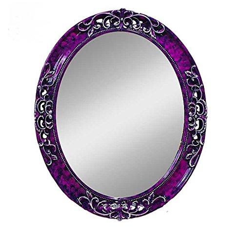 JILAN HOME Mirror- Mediterrane Farbe Wandbehang Spiegel Grüne Grenze Dekorative Spiegel Lila Oval Geheimnisvolle Spiegel Badezimmer PU Spiegel mirror ( Farbe : Lila , größe : L )