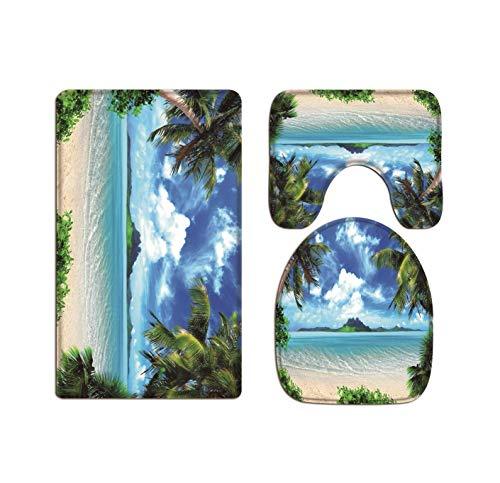 A.Monamour Badezimmer Badematte 3 Teilig Set Tropische Insel Küste Strand Palmen Blauer Himmel Weiße Wolken Natur Landschaft Pads Für Flanell Saugfähig Badteppiche Badvorleger Badgarnitur WC Vorleger (Küsten-badematte)