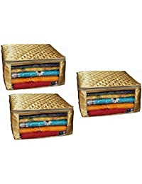 Fancy Walas Saree Cover Extra Large Size In Golden Quilted Satin (with Capacity Of Upto 15 Sarees) - B07D6RH8LM