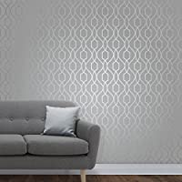 Fine Décor FD41995 UK Apex Trellis Sidewall Wallpaper, Stone/Silver
