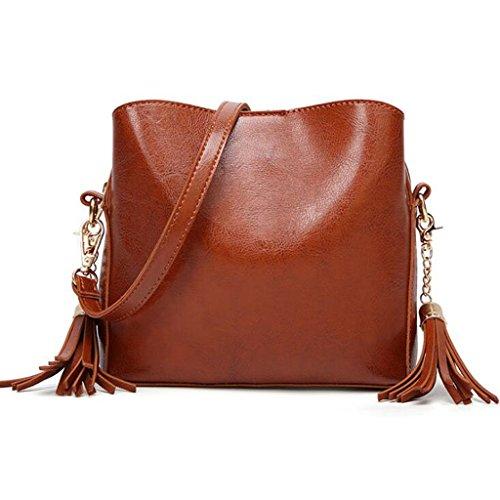 GKKXUE Retrostyle-Fransentasche der Frauen Elegante und einfache Art und Weise Schulterdiagonale Tasche geben Geldbeutel frei (Farbe : Braun) (Brown Glas Fliese)