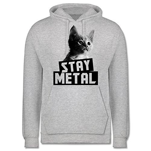 Metal - Stay Metal Katze - Männer Premium Kapuzenpullover / Hoodie Grau Meliert