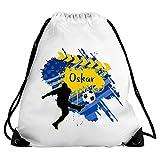 Eurofoto Turnbeutel mit Namen Oskar und Fußball-Motiv für Jungen | Sport-Beutel für Kinder | Gymbag