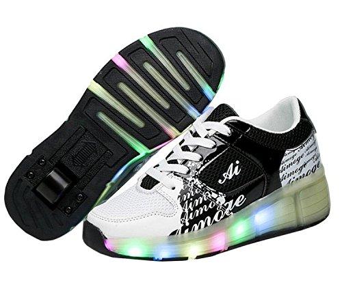 Bambini ragazze LED Heelys scarpe Sneaker con ruote 7colori cambia colore, Nero (nero), 35