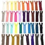 E-Goal 39 Farben 25cm Tailor Zips zum Nähen von Nylon Spule Closed End Invisible Reißverschlüsse für DIY Taschen, Federmäppchen, Kleidung, Kleid