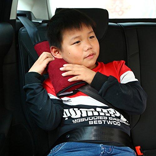 Auto-Sicherheitsgurt-Pad-Abdeckung Gurtabdeckung Reisekissen Sicherheitsgurt Abdeckungen Für EIN Komfortableres Fahren (2 Pack),WineRed