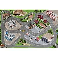 Stadt / Straßen Spielteppich | SM05 | Hochwertige City Spiel-Matte für das Kinder-Zimmer | ideales Zubehör zu Spiel-Figuren & Autos von Schleich, Playmobil, Papo, Bullyland & Co | 150 x 100 cm | STIKKIPIX
