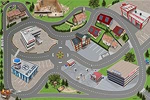 Ville / Voiture/ Route - SM05 - tapis de jeu / Jeu tapis pour la chambre des enfants - Dimensions: 150 x 100cm - Accessoires adaptés à Hotwheels, Matchbox, Siku, Wiking, Schleich, Papo, Bullyland, Playmobil, Lego etc.