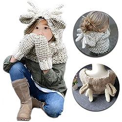 WOF Cálido Sombrero lindo Bufanda Guantes Conjunto de lana Punto Crochet Coif Con capucha Chal Oreja Cuello Calentador Gorros Gorro para 2-9 años Niños Bebés bebés Niños pequeños Otoño invierno Navida
