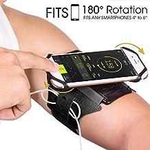 """VUP Fascia da Braccio Sportiva EUGO Universale per Galaxy S8/S7/S7 Edge/S6/S6 Edge/Edge+, iPhone 8,8 Plus, 7, 7 Plus,6s/6, 6s Plus/6 Plus ed Smartphone Uguale o Inferiore a 6"""",Porta Cellulare Armband da Polso con Rotazione di 180 Gradi per Corsa Running Jogging Maratona Palestra (Nero)"""